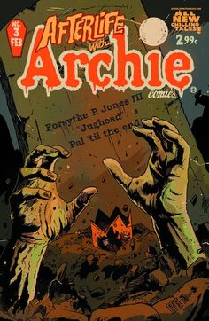 """Afterlife with Archie #3 """"Horripilate"""" A nasty, aging actor who is a vampire host on a Creeper Feature show is tricked into reciting a spell on live TV. Written by Don (Star Wars) Glut with Dick (Sarge Steel) Giordano art. Reprinted from Chilling Adventures in Sorcery #4."""