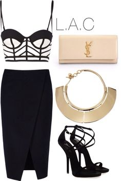 Black and White Crop Top, Black Pencil Skirt with Slit, Gold Plated Necklace, Strappy Black Heels and Nude Clutch. J'ADORE!!
