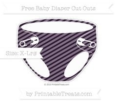 Dark Purple Diagonal Striped  Extra Large Baby Diaper Cut Outs