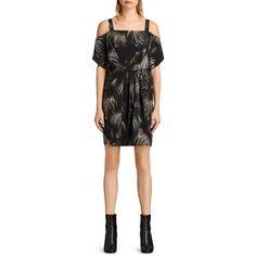 Allsaints Rae Neluwa Silk Dress (€305) ❤ liked on Polyvore featuring dresses, black, palm print dress, palm tree dress, allsaints, palm leaf dress and palm dress