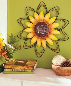 Sunflower Wall Art Metal Wire Wall Hanging Sculpture Home Decor Room Decorating Sunflower Bathroom, Sunflower Room, Sunflower Kitchen Decor, Sunflower Decorations, Sunflower House, Painting Shower, Kitchen Themes, Kitchen Ideas, Art Mural
