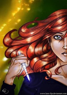 The Mortal Instruments by Cassandra Claire| Clary {Clarissa} with a stele.