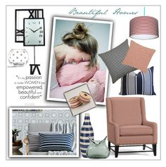 """""""Beautiful Homes- Ticking mood board"""" by frenchfriesblackmg ❤ liked on Polyvore featuring interior, interiors, interior design, home, home decor, interior decorating, Pottery Barn, The Pillow Collection, Fresh American and Cost Plus World Market"""