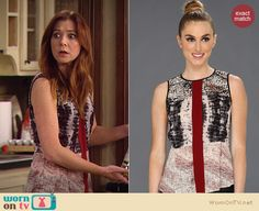 Lily's mixed print top with red front stripe on How I Met Your Mother. Outfit Details: http://wornontv.net/19740 #HowIMetYourMother #CBS
