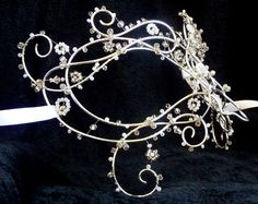 Stunning silver wire beaded masquerade mask!