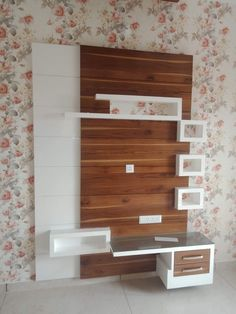panel brown and white combination and three small box white if you want see… - TV unit Lcd Wall Design, Lcd Unit Design, Wall Unit Designs, Living Room Tv Unit Designs, Room Door Design, House Ceiling Design, Tv Stand And Panel, Tv Panel, Small Tv Unit