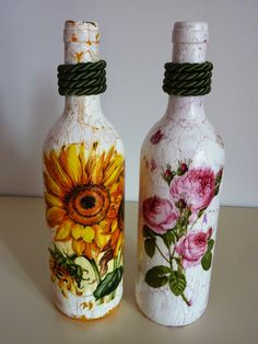 """RIBARTES: Garrafas Recicladas -  """"Sunflower"""" e """"Charming Ros..."""
