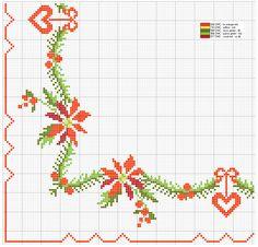 Schema punto croce Bordura Floreale