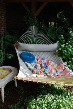 hammock. quilt. trees.