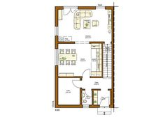CLOU 132 Grundriss Erdgeschoss gerade Treppe