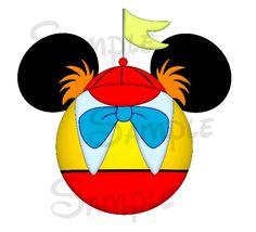 Tweedle Dee / Dum (Alice in Wonderland) inspired DIGITAL printable Mickey head file DIY Disney Ears, Baby Disney, Disney Love, Disney Magic, Mickey Y Minnie, Mickey Head, Disney Mickey, Alice In Wonderland Clipart, Deco Disney