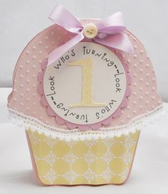 1st Birthday Cupcake Shaped Card  by CardsandMoorebyTerri on Etsy, $5.75