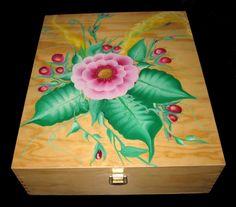 Scatola legno Mazzo fiori foglia composta dipinto  a mano