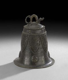 """Japanese Bronze Bell, 19th century, with a cicada motif and a dragon finial, h. 7""""."""