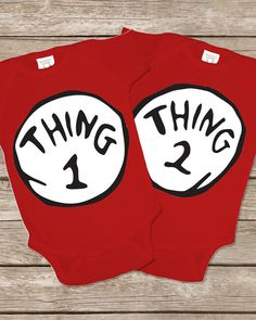 010  Thing 1 Thing 2 Onesie Twins Outfit Twin by TwinsiesTotShop, $30.00 Boy Girl Twin Outfits, Boy Girl Twins, Cat In The Hat Party, Twins 1st Birthdays, Twin Birthday, Twin Babies, Thing 1 Thing 2, Party Hats, Future Baby