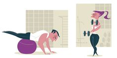 "Ilustração para Revista Fleury  ""Pilates Method x Bodybuilding"" Illustration for Fleury Magazine"