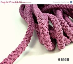 SALE 20 Braided cotton cord 12mm thick rope lavender 1m by OandN, $3.20 #craftcords #jewelrysupplies