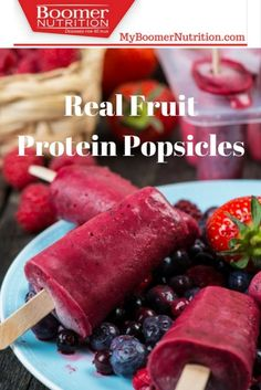 Real Fruit Protein Popsicles made with Boomer Nutrition Protein Powder