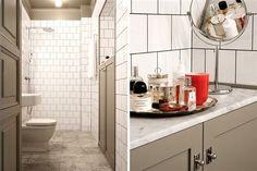 Stort lyxigt badrum med Carraramarmor och vitt kakel