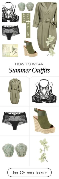"""Sexy Military Green"" by alongcametwiggy on Polyvore featuring Agent Provocateur, La Perla, Moleskine, NOVICA and Mojo Moxy"