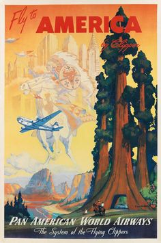 Mark Von Arenburg's poster for Pan Am's 'Fly to America' series, featuring the redwoods of Northern California. Date unknown but likely in the 1950s.Estimate: $2,500 - $3,500 Photo: Courtesy Of Swann Auction Gallery