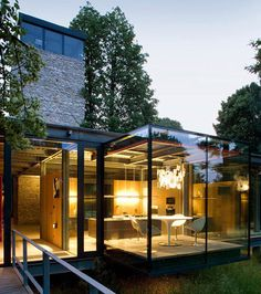 A beautiful glass home with a tower in Krakow, Poland