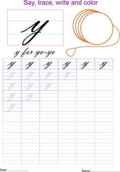 Letter Y Worksheets, Handwriting Worksheets For Kids, Cursive Handwriting Practice, Teaching Handwriting, Cursive Writing Worksheets, Handwriting Analysis, English Worksheets For Kids, Improve Handwriting, Kindergarten Worksheets