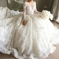 2015 New Lebanon Designer Lace Applique Puffy Ball Gown Wedding Dresses with Long Trains Sleeves-in Wedding Dresses from Weddings & Events on Aliexpress.com | Alibaba Group