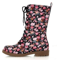 Womens Black Floral Punk Lace Up Military Boots #780a