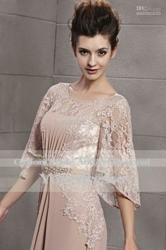 a line half sleeve formal elegant dresses | Discount Charming A Line 2014 Rosybrown Half Sleeve Crew Neckline See ...