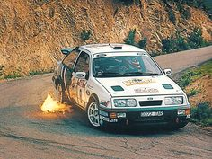 Ford Sierra Cosworth Rally WRC - flames and drift! Ford Sierra, Classic Race Cars, Ford Classic Cars, Ford Rs, Car Ford, Rallye Wrc, Ford Motorsport, Old American Cars, Cars