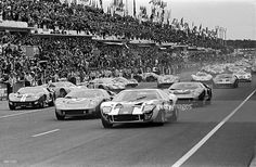 The Le Mans 24 Hours; Le Mans, June 18-19, 1966. The start of the race with the Ford GT40�s in front. The leading Ford is the Skip Scott/Peter Revson car which retired with engine failure.