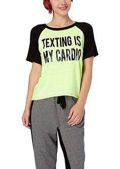 Texting Cardio Raglan Boxy Tee