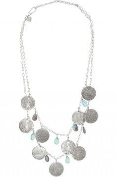 silver vintage coins necklace with aqua stones