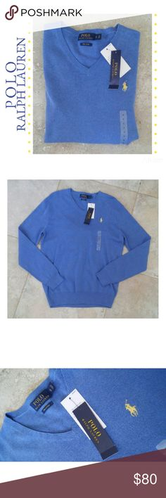 {Polo Ralph Lauren} pale royal v neck sweater New with tags! Polo Ralph Lauren Pale royal blue with light yellow embroidered logo V neck sweater Pima cotton  Size small  MSRP $98.50 Polo by Ralph Lauren Sweaters V-Neck