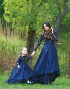 Mother daughter matching train lace navy lace dress : Mother daughter matching train lace navy lace dress for photoshoot Flared lace dress princess dress Ball gown Photo session floor length Mom Daughter Matching Outfits, Mommy Daughter Dresses, Mom And Baby Dresses, Mother Daughter Fashion, Mom Dress, Lace Dress, Girls Dresses, Party Wear Dresses, Ball Dresses