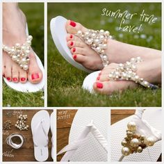 DIY sandals. 2buck rubber flip flops with ribbon, glue and beads! Use pretty buttons, rhinestones or silk flowers