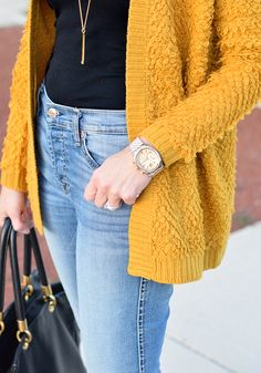 flare jeans, mustard cardigan, forever 21 sweater, michael kors chronograph watch, how to wear flare jeans