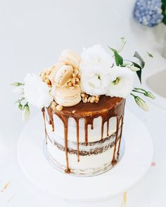 """T O M E @tome____ 7"""" layers of salted caramel, white chocolate & peanut butter"""