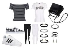 """Black& white"" by mneayen on Polyvore featuring Miss Selfridge, Madewell, adidas, Topshop and NIKE"
