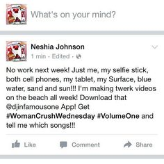 #OTGrepost from @itsmissmimibaby -  No work next week! Just me my selfie stick both cell phones my tablet my Surface blue water sand and sun!!! I'm making tweet videos on the beach all week! Download that @djinfamousone App! Get #WomanCrushWednesday #VolumeOne and tell me which songs!!! #digitalkingpins #djinfamousone #twerk #twerksomething #twerkvideos #Mixtape #mixtapemodels #models #overtimegrind #otg #ass #curves #cakes #Regrann