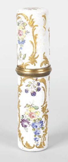 A good George III enamel on brass bodkin or needle case...south Staffordshire/ west Midlands circa 1770...4.6 inches