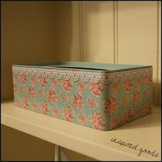 Vintage Floral Tissue Storage Box - Shabby Chic Polka Dot Tissues Tin