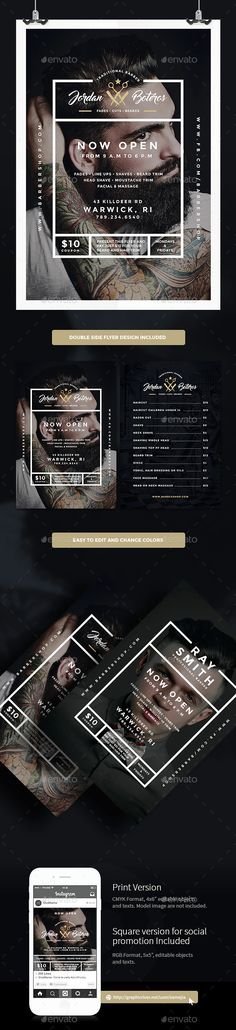 Barber Shop Flyer Template PSD #design Download: http://graphicriver.net/item/barber-shop-flyer/14546857?ref=ksioks
