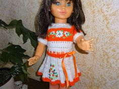 Puppenkleidung - Puppenkleid für eine Puppengröße von 54/56 cm - ein Designerstück von Marions-Strick-und-Bastelecke bei DaWanda