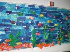 Layered tissue paper makes a great underwater scene