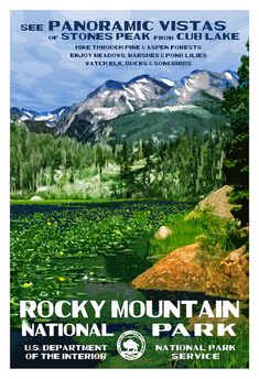 The National Parks of Colorado - Set of 4 National Park Posters - Black Canyon of the Gunnison, Great Sand Dunes, Mesa Verde, Rocky Mountain Gunnison National Park, Rocky Mountain National Park, Yosemite National Park, National Park Posters, Us National Parks, Rocky Mountains, Winter Outfits, Lily Pond, Park Service