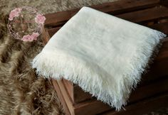 Up-cycled cream newborn blanketfrayed edge by CherryBlossomTale