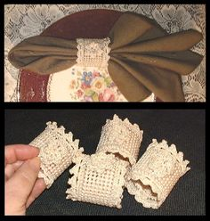 Victorian cottage napkin rings in crochet & needlepoint. Set of 4. by Kate McClure @ ChinaRose Cottage http://www.ebay.com/itm/321101094412?ssPageName=STRK:MESELX:IT&_trksid=p3984.m1555.l2649