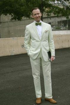 Green seersucker suit